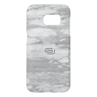 White Faux Marble Texture Custom Monogram 3 Samsung Galaxy S7 Case