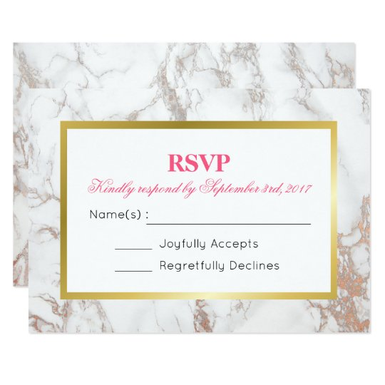 White Faux Marble Texture with a Gold Frame RSVP Card