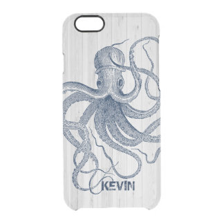 White Faux Wood & Blue Nautical Octopus D3 Clear iPhone 6/6S Case