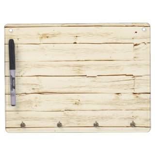 White Faux Wood Dry Erase Board With Keychain Holder