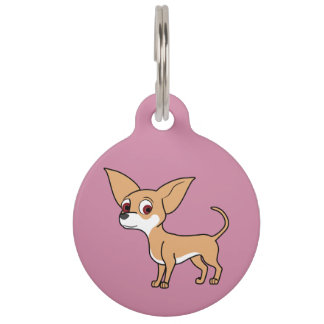 White & Fawn Chihuahua with Short Hair Pet Nametag