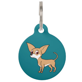 White & Fawn Chihuahua with Short Hair Pet Tag
