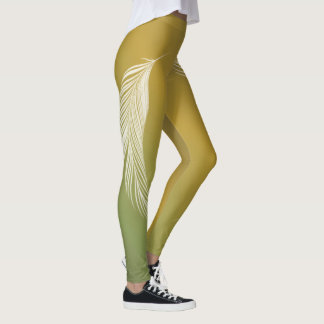 White Feather On Earth Tones Gradient Leggings