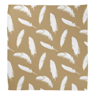 White feather print on camel tan bandana