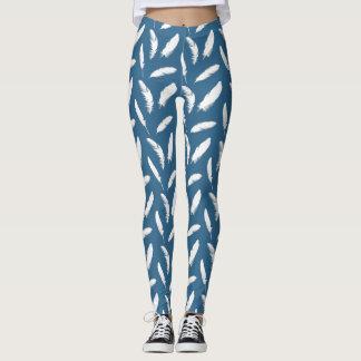 White Feather Print on Denim Blue Leggings