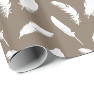 White feather print on taupe wrapping paper