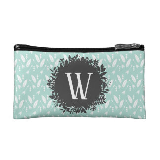 White Feathers and Arrows Pattern with Monogram Cosmetic Bag