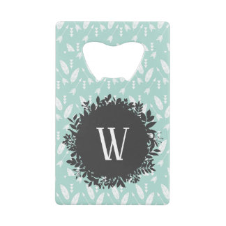 White Feathers and Arrows Pattern with Monogram Credit Card Bottle Opener