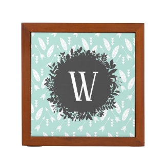 White Feathers and Arrows Pattern with Monogram Desk Organizer