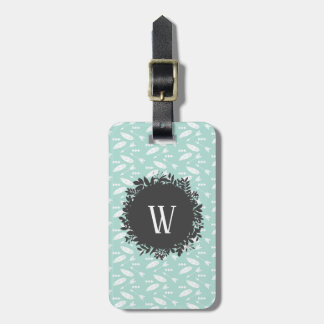 White Feathers and Arrows Pattern with Monogram Luggage Tag