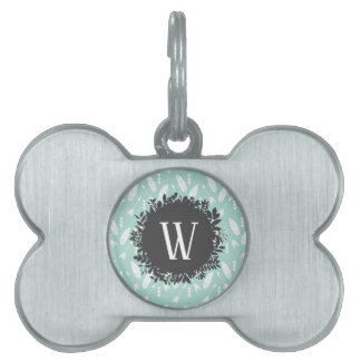 White Feathers and Arrows Pattern with Monogram Pet ID Tag