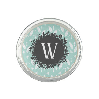 White Feathers and Arrows Pattern with Monogram Photo Rings