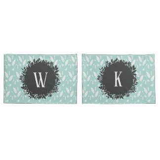 White Feathers and Arrows Pattern with Monogram Pillowcase