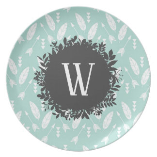 White Feathers and Arrows Pattern with Monogram Plate