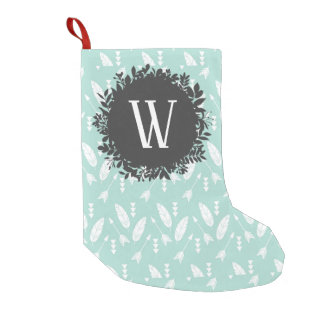 White Feathers and Arrows Pattern with Monogram Small Christmas Stocking