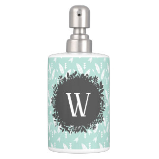 White Feathers and Arrows Pattern with Monogram Soap Dispenser And Toothbrush Holder