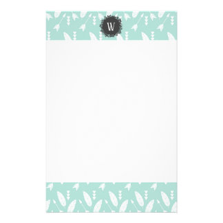 White Feathers and Arrows Pattern with Monogram Stationery