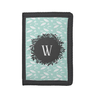 White Feathers and Arrows Pattern with Monogram Trifold Wallet