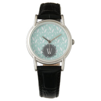 White Feathers and Arrows Pattern with Monogram Watch