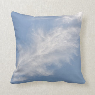 White Feathery Clouds in a Blue Sky Throw Pillow