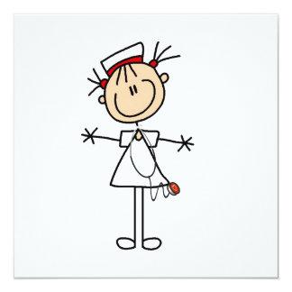 """White Female Stick Figure Nurse 2 5.25"""" Square Invitation Card"""