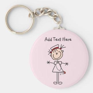 White Female Stick Figure Nurse 2 Gifts Basic Round Button Keychain
