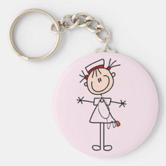 White Female Stick Figure Nurse 2 Gifts Keychain