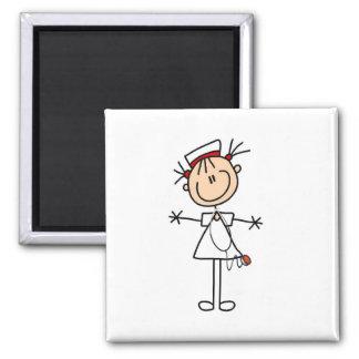 White Female Stick Figure Nurse 2 Gifts Square Magnet