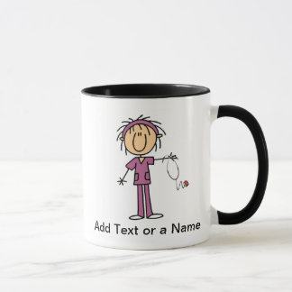 White Female  Stick Figure Nurse T-shirts and Gift Mug