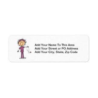 White Female Stick Figure Nurse T-shirts and Gifts Return Address Label