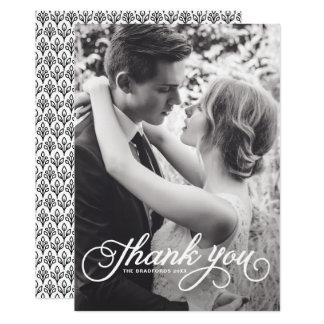White Feminine Script Photo Wedding Thank You Card