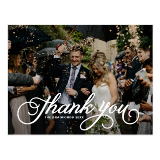 White Feminine Script Photo Wedding Thank You Postcard