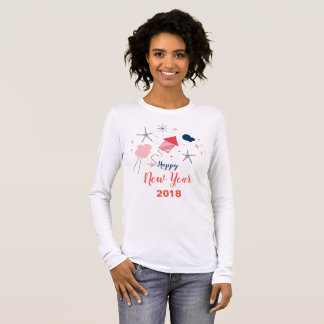 White Feminine t-shirt Happy New Year 2018