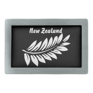 White fern leaf rectangular belt buckle