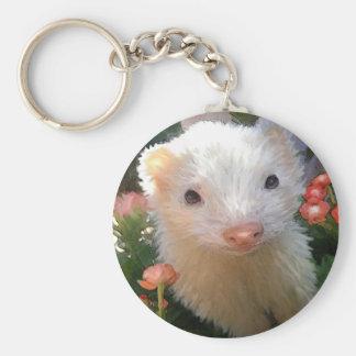 white ferret basic round button keychain