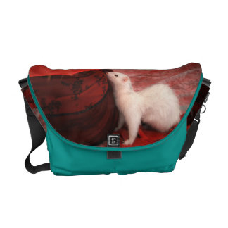 White Ferret  Messenger Bag - Red Passion & Blue