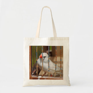 White Finch Bird in Cage Tote Bag