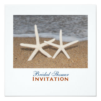 White Finger Starfish Bridal Shower Card