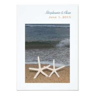 White Finger Starfish Wedding Invitation