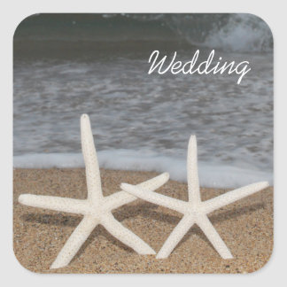 White Finger Starfish Wedding Stickers