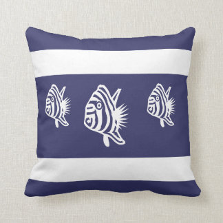 white fish  on  soft navy  PILLOW coastal living