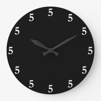 White Five o'Clock Somewhere on Black Wall Clock