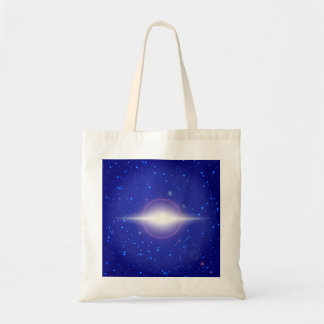 White flare on blue space background with stars tote bag