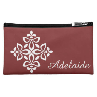 White Fleur De Lis on Americana Red Makeup Bag