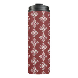 White Fleur De Lis on Americana Red Thermal Tumbler