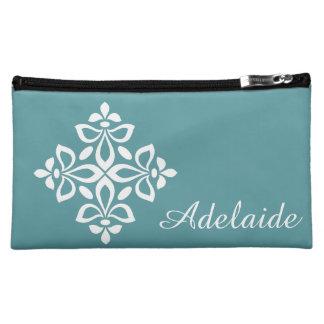 White Fleur De Lis on Coastal Aqua Cosmetic Bag