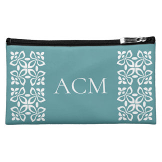 White Fleur De Lis on Coastal Aqua Monogram Makeup Bag