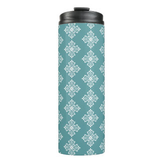 White Fleur De Lis on Coastal Aqua Thermal Tumbler
