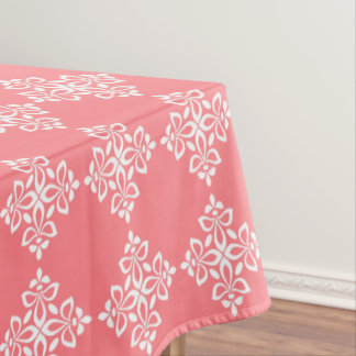 White Fleur De Lis on Coral Pink Tablecloth