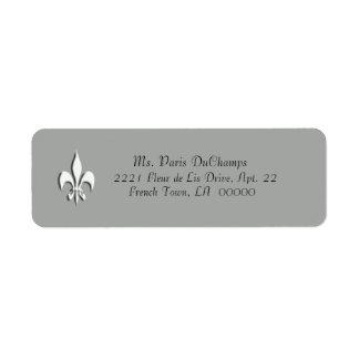 White Fleur de Lis on Gray Return Label